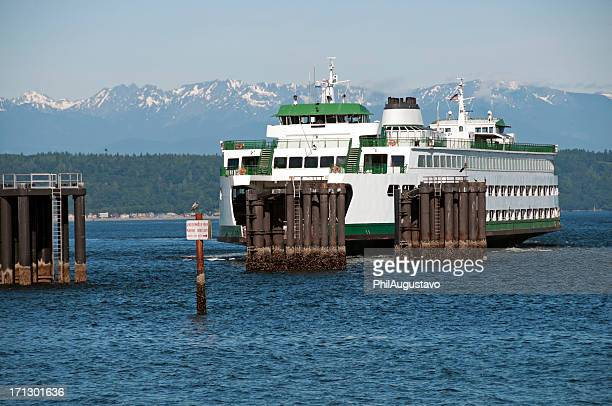 Ferryboat arriving at dock on Puget Sound