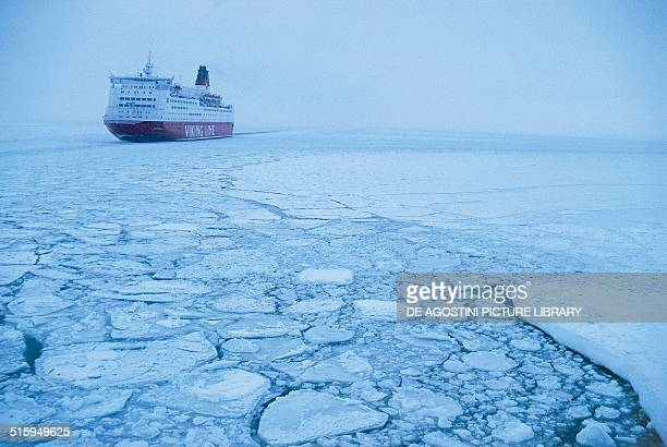 Ferryboat in the frozen Baltic Sea Finland