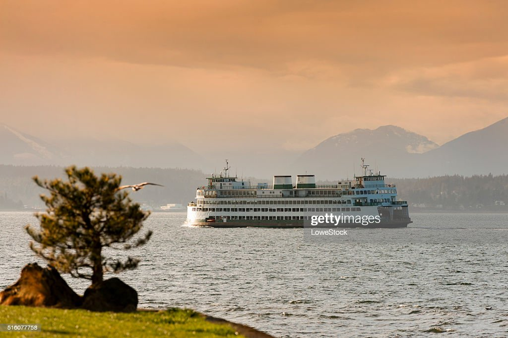 Ferryboats and Mountains : Stock Photo
