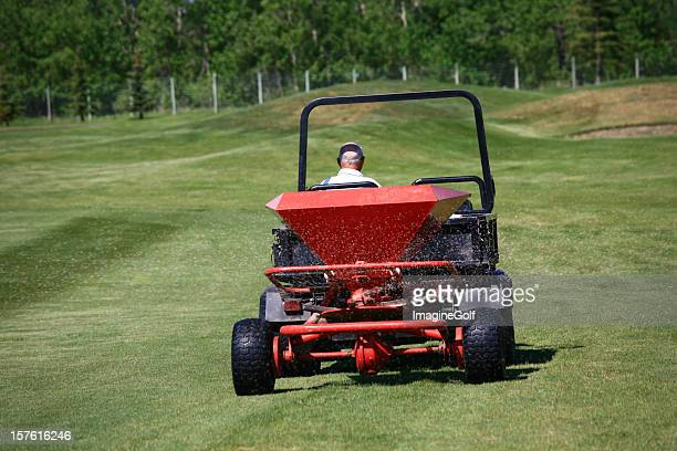 Fertilizing a Golf Course with Spreader