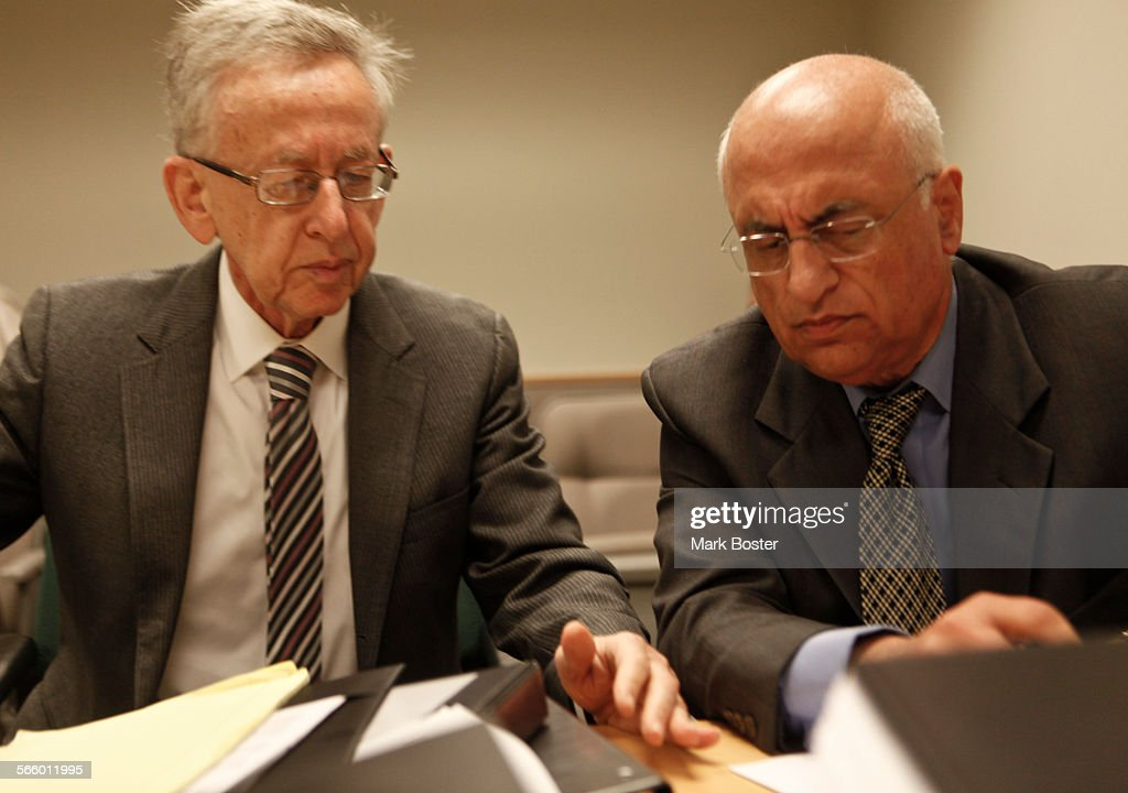 Fertlity Doctor, Michael Kamrava (right)appears with his attorney Henry R. Fenton (left) before the : News Photo