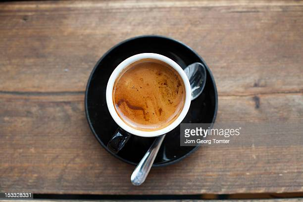 feshly brewed espresso - espresso stock photos and pictures