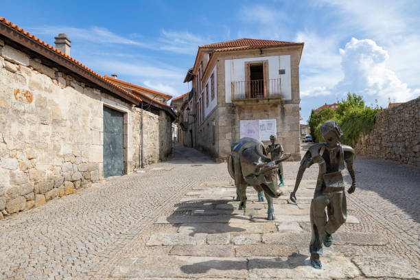 A Festa Do Boi sculpture, Allariz, Ourense Province, Galicia, Spain.
