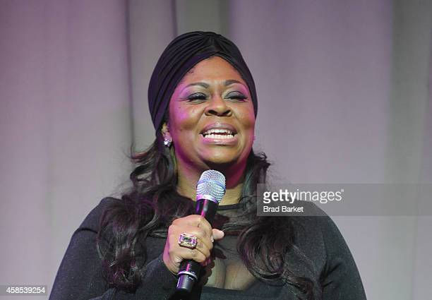 Festival AllStar Gospel Tribute Honoree Kim Burrell speaks on stage at The ESSENCE 2015 Upfront ESSENCE Preview event at the Liberty Theater on...