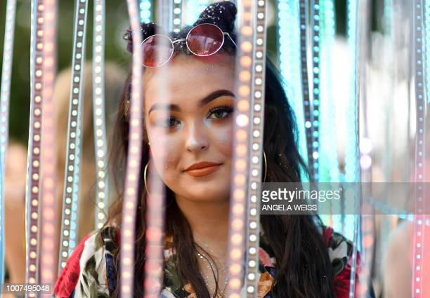 A festival attendee poses during the Panorama Music Festival on Randall's Island on July 29 2018 in New York