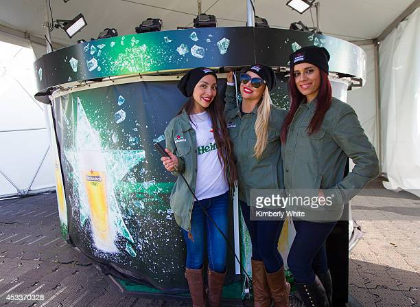 Festival attendees enjoy themselves at the Heineken House Dance Experience and 360 Freeze Engagement Photobooth at the Outside Lands Festival on...