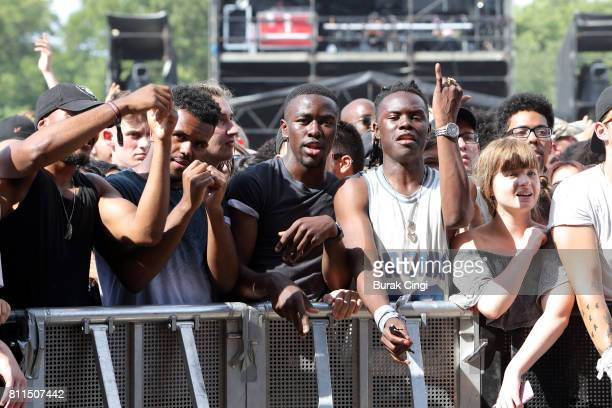 Festival attendees on day 3 of Wireless Festival at Finsbury Park on July 9 2017 in London England
