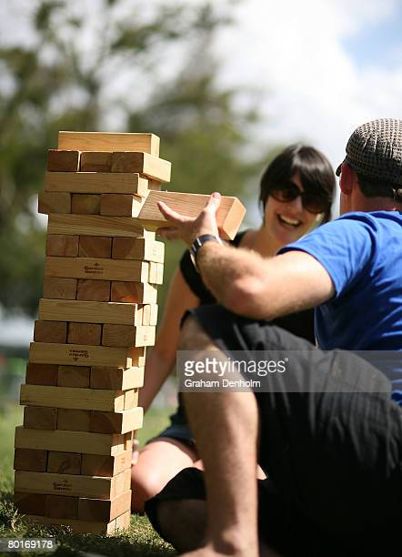 Festival attendees play a game of giant Jenga at day two of Playground Weekender 2008 at the Del Rio Resort on March 08 2008 in Sydney Australia