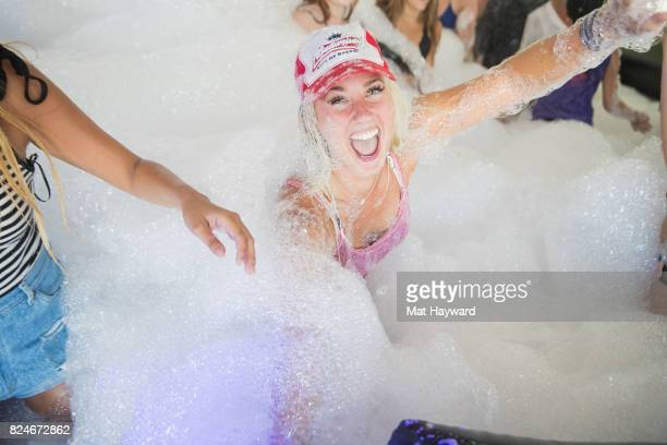 Festival attendees play in the Foam Party during the Watershed Music Festival at Gorge Amphitheatre on July 30 2017 in George Washington