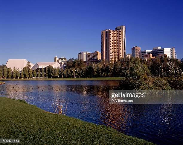 festival centre and offices along river torrens, adelaide - adelaide festival stock pictures, royalty-free photos & images