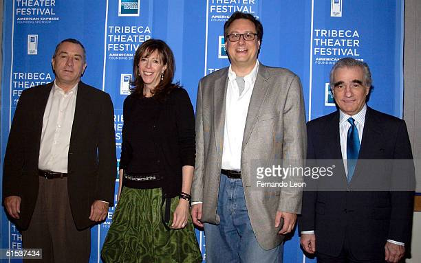 Festival cofounders actor Robert De Niro Jane Rosenthal Pace University Drama Dept Artistic Director Doug Beane and director Martin Scorsese arrive...