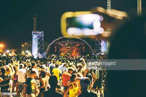 festival crowd. - reggae stock photos and pictures