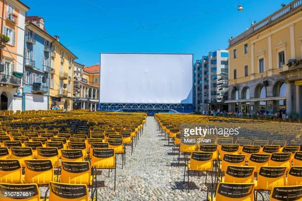 Festival del film on square piazza Grande in Locarno, Switzerland.
