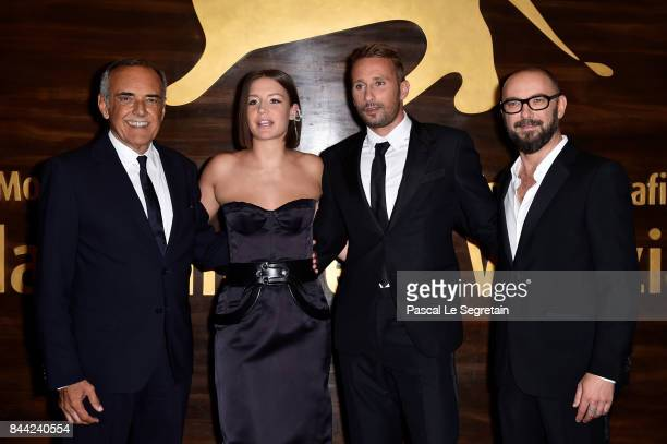 Festival director Alberto Barbera Adele Exarchopoulos Matthias Schoenaerts and Michael Roskam walk the red carpet ahead of the 'Racer And The...