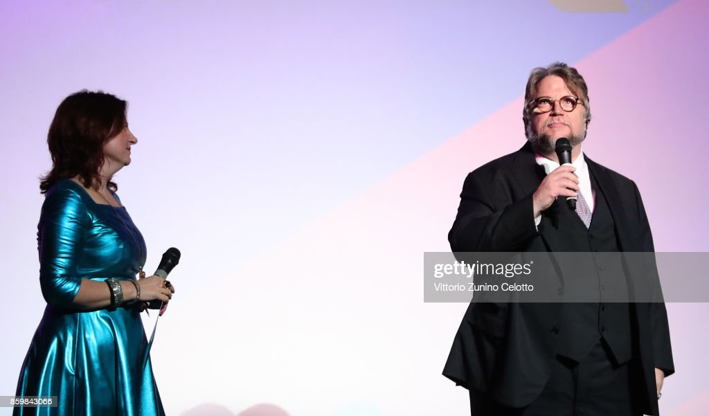 Festival director Clare Stewart (L) and director Guillermo del Toro speaks onstage ahead of the American Airlines Gala and UK Premiere of 'The Shape Of Water' during the 61st BFI London Film Festival on October 10, 2017 in London, England.