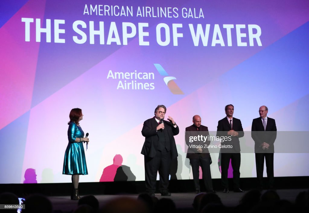Festival director Clare Stewart, director Guillermo del Toro, producer J Miles Dale, film composer Alexandre Desplat and actor Richard Jenkins onstage ahead of the American Airlines Gala and UK Premiere of 'The Shape Of Water' during the 61st BFI London Film Festival on October 10, 2017 in London, England.