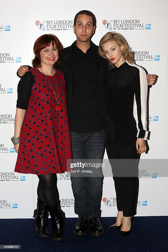 Festival Director Clare Stewart , filmmaker Brandon Cronenberg and actress Sarah Gadon attend the premiere of 'Antiviral' during the 56th BFI London Film Festival at Odeon West End on October 13, 2012 in London, England.