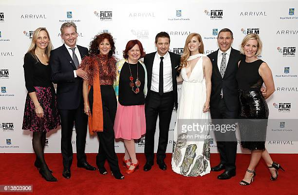 Festival director Clare Stewart Jeremy Renner and Amy Adams with Royal Bank of Canada executives at the 'Arrival' Royal Bank Of Canada Gala screening...