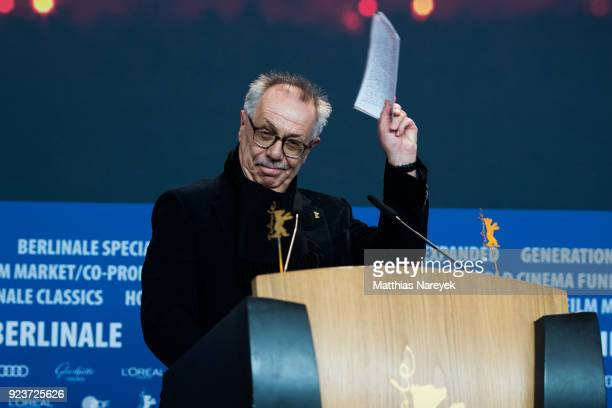 Festival director Dieter Kosslick attends the Awards Of The Independent Juries press conference during the 68th Berlinale International Film Festival...