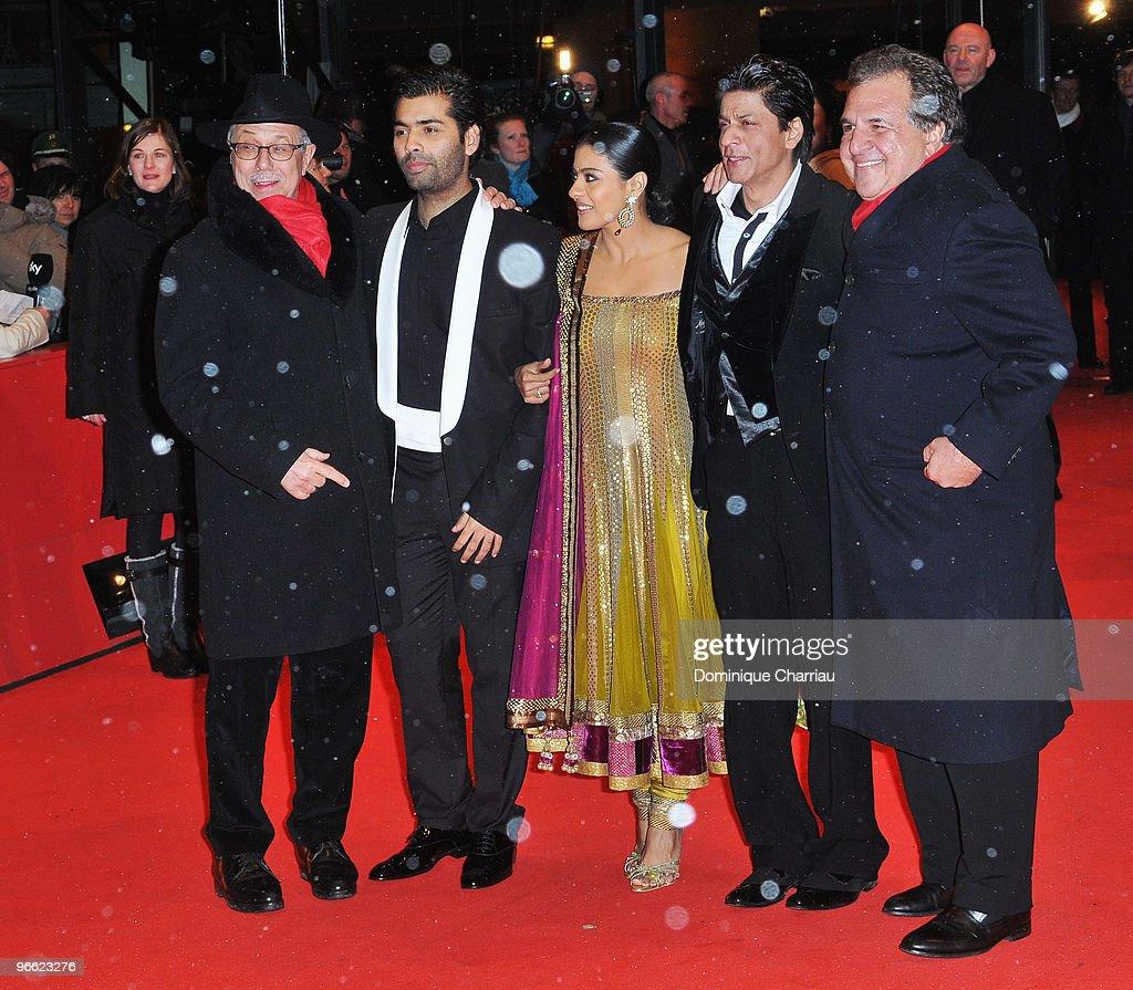 Festival director Dieter Kosslick director Karan Johar actress Kajol Devgan and actor Shah Rukh Khan attend the 'My Name Is Khan' Premiere dur