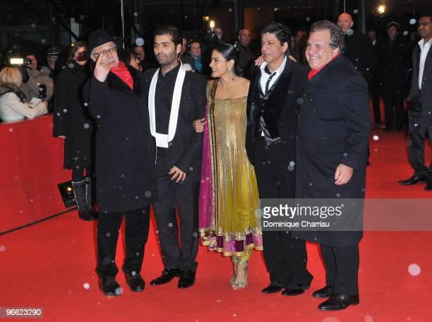 Festival director Dieter Kosslick director Karan Johar actress Kajol Devgan and actor Shah Rukh Khan attend the 'My Name Is Khan' Premiere during day...