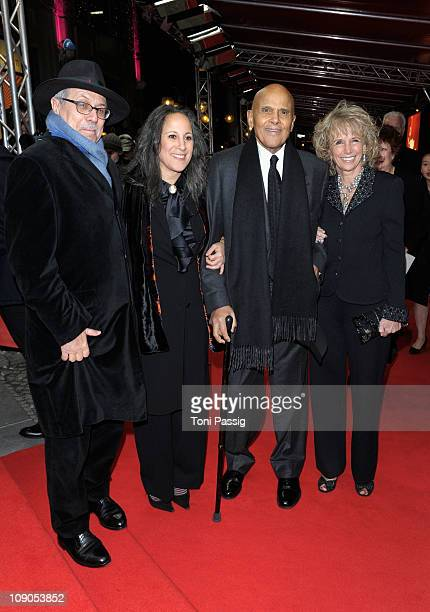 Festival director Dieter Kosslick Gina Belafonte and Harry Belafonte with wife Pamela attend the 'Sing Your Song' Premiere during day four of the...