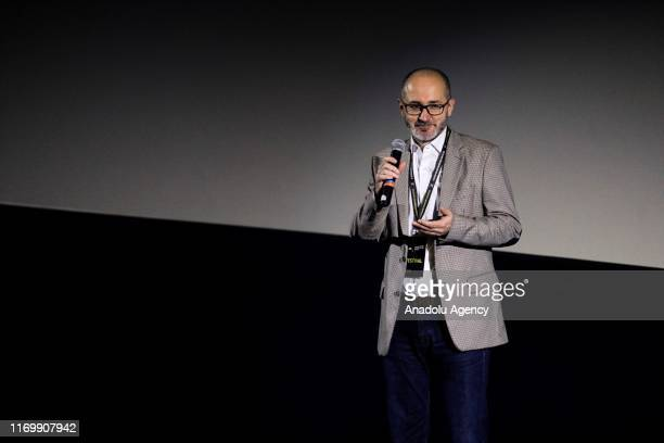 Festival director Edhem Foco makes a speech during the opening ceremony of the 2nd International Documentary Festival at the Cinema City in Sarajevo...
