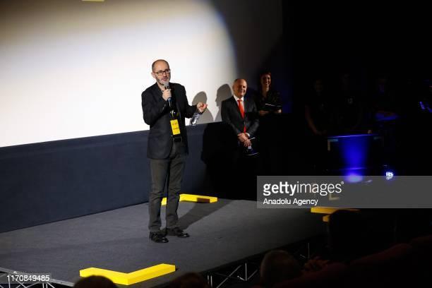 Festival Director Edhem Foco speaks during the award ceremony of Al Jazeera Balkans Documentary Film Festival at Cinema City in Sarajevo Bosnia and...