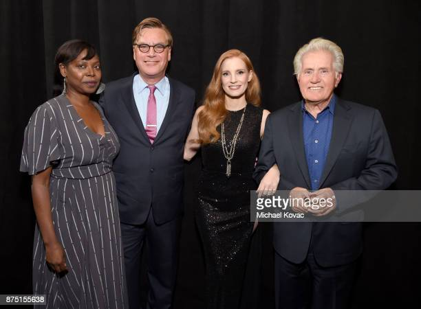 Festival Director for AFI FEST Jacqueline Lyanga Aaron Sorkin Jessica Chastain and Martin Sheen attend the screening of 'Molly's Game' at the Closing...