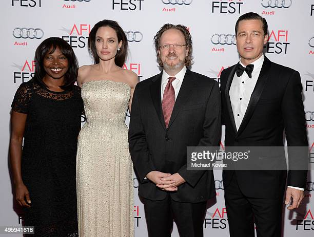AFI Festival Director Jacqueline Lyanga writerdirectorproduceractress Angelina Jolie Pitt AFI president and CEO Bob Gazzale and actorproducer Brad...
