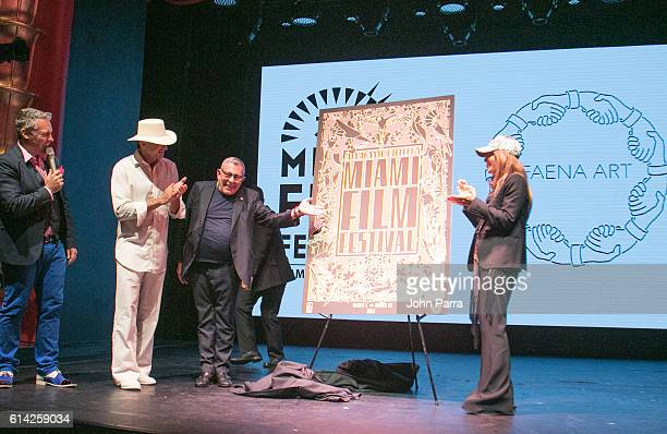 Festival Director Jaie Laplante Alan Faena Artist Juan Gatti and Ximena Caminos attend Miami Film Festival 34th Edition Poster Unveiling at Faena...