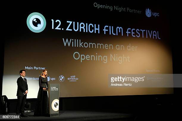 Festival director Karl Spoerri and Festival director Nadja Schildknecht speak during the 'Lion' premiere and opening ceremony of the 12th Zurich Film...