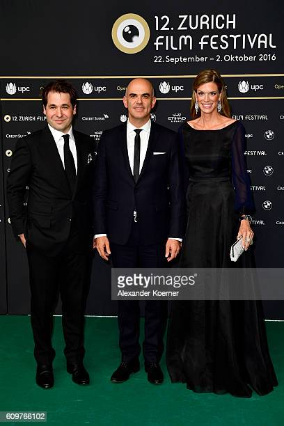 Festival director Karl Spoerri politician Alain Berset and Festival director Nadja Schildknecht attend the 'Lion' premiere and opening ceremony of...
