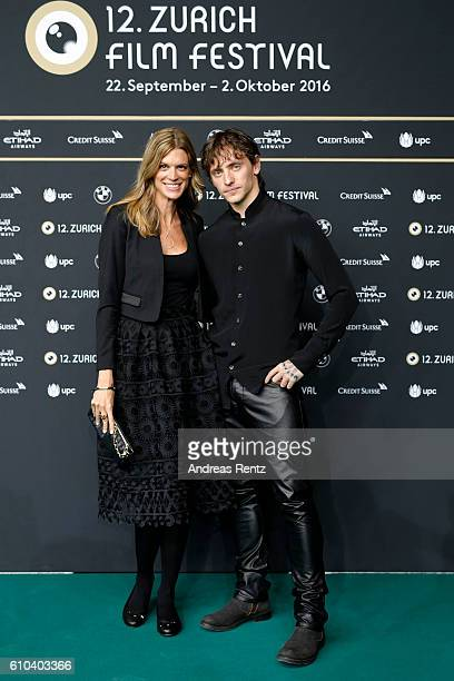 Festival director Nadja Schildknecht and Sergei Polunin attend the 'Dancer' Photocall during the 12th Zurich Film Festival on September 25 2016 in...