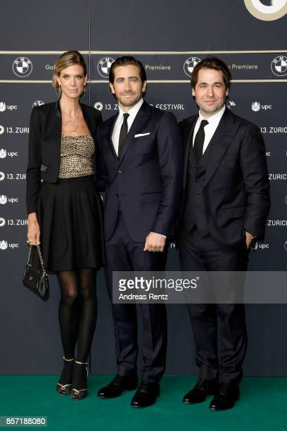 Festival director Nadja Schildknecht Jake Gyllenhaal and Festival director Karl Spoerri attend the 'Stronger' premiere at the 13th Zurich Film...