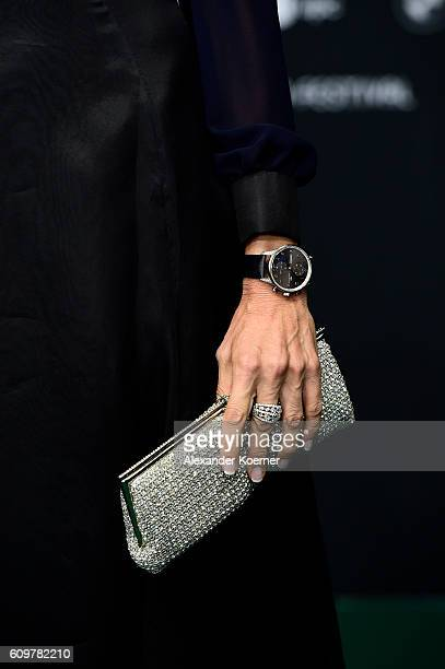 Festival director Nadja Schildknecht jewelry and bag detail attends the 'Lion' premiere and opening ceremony of the 12th Zurich Film Festival at Kino...