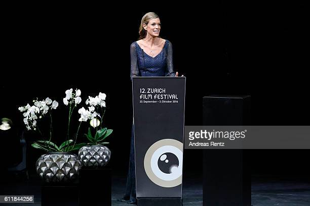 Festival director Nadja Schildknecht speaks on stage during the Award Night Ceremony during the 12th Zurich Film Festival on October 1 2016 in Zurich...
