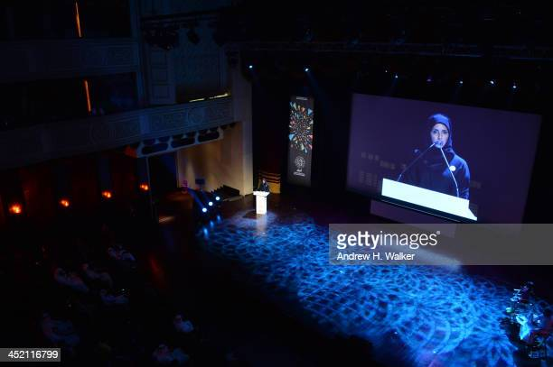 Festival Director of the Ajyal Youth Film Festival Fatma Al Remaihi speaks at the opening of the Ajyal Youth Film Festival on November 26 2013 in...