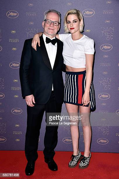 Festival director Thierry Fremaux and Kristen Stewart arrive at the Opening Gala Dinner during The 69th Annual Cannes Film Festival on May 11 2016 in...