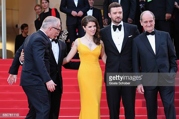 Festival Director Thierry Fremaux Producer Jeffrey Katzenberg Actress Anna Kendrick Singer Justin Timberlake and Festival President Pierre Lescure...