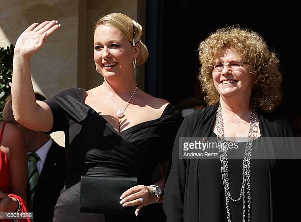 Festival directors Katharina Wagner and Eva WagnerPasquie arrive at the 'Festspielhaus' ahead of the opening performance of 'Lohengrin' at the...