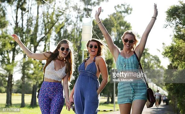 Festival fans arrive at the 2016 Byron Bay Bluesfest on March 24 2016 in Byron Bay Australia