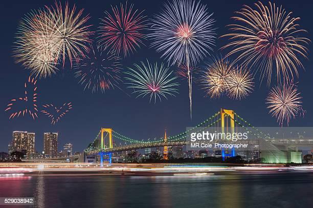 Festival firework at rainbow bridge, Tokyo  japan