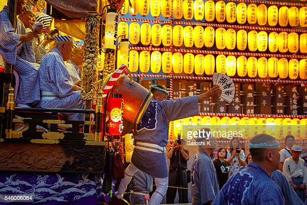 Festival float parading on main street