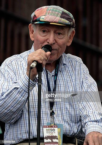 Festival Founder George Wein speaks to the crowd during day 2 of George Wein's Folk Festival 50 at Fort Adams State Park on August 2 2009 in Newport...