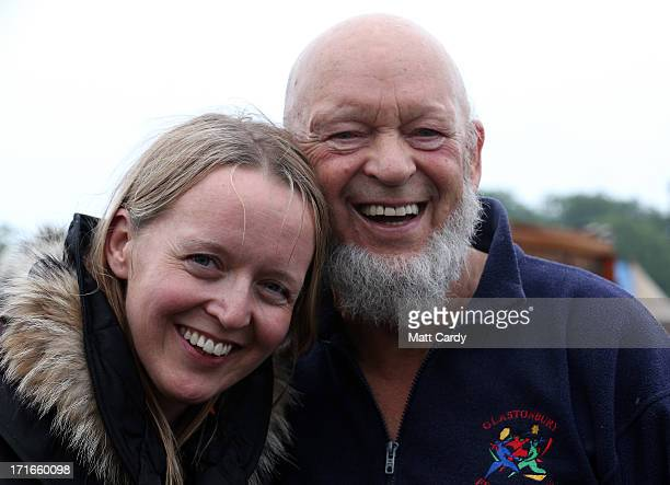Festival founder Michael Eavis and his daughter Emily pose for a photograph at the Glastonbury Festival of Contemporary Performing Arts site at...