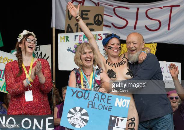 Festival founder Michael Eavis is joined by Rachel Rousham from the White Ribbon Alliance and members of the Avalonian Choir for a profeminist event...