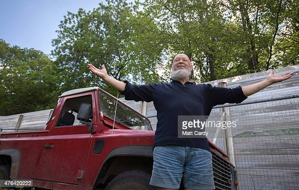 Festival founder Michael Eavis looks out across the Festival site at Worthy Farm as the farm prepares for this year's Glastonbury Festival in Pilton...