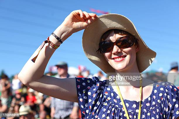 festival goer at glastonbury festival 2011 - glastonbury stock pictures, royalty-free photos & images
