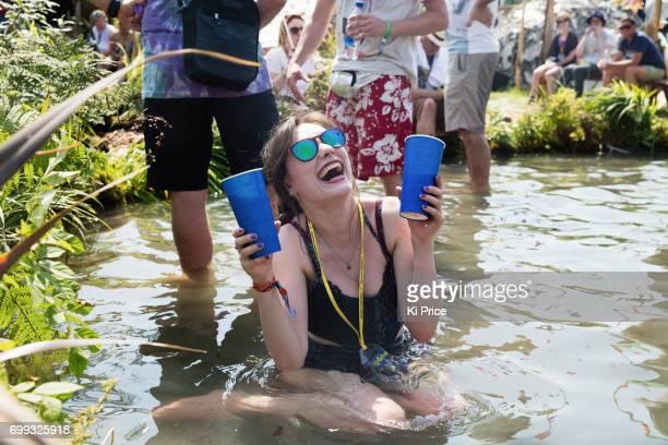A festival goer at Glastonbury Festival Site on June 21 2017 in Glastonbury England